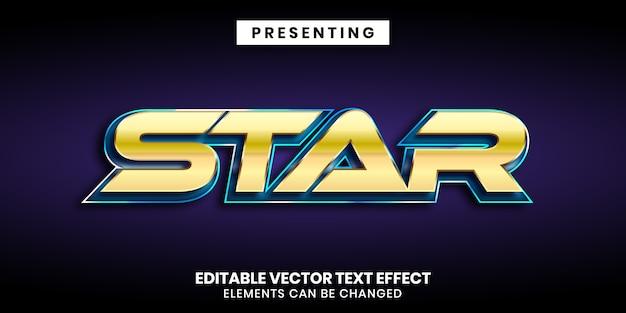 Золото и синий блестящий металл редактируемый текстовый эффект фильма