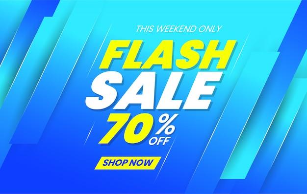 Флэш-продажа баннер шаблон на синем фоне