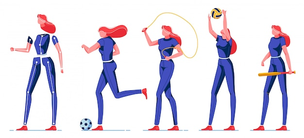 Молодая женщина, занятий спортом и различных видов деятельности.