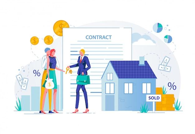 不動産業者との家または財産の購入。