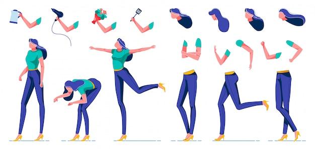 さまざまな位置の女性キャラクターアニメーションキット。