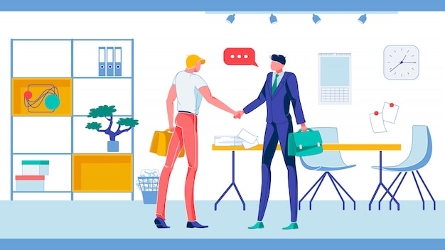 家具付きオフィスで握手するビジネスマン。