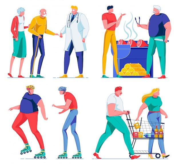 Пожилые супружеские пары посещают доктора, гриль мясо, шоппинг.