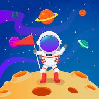 Ребенок-космонавт приземлился на луну