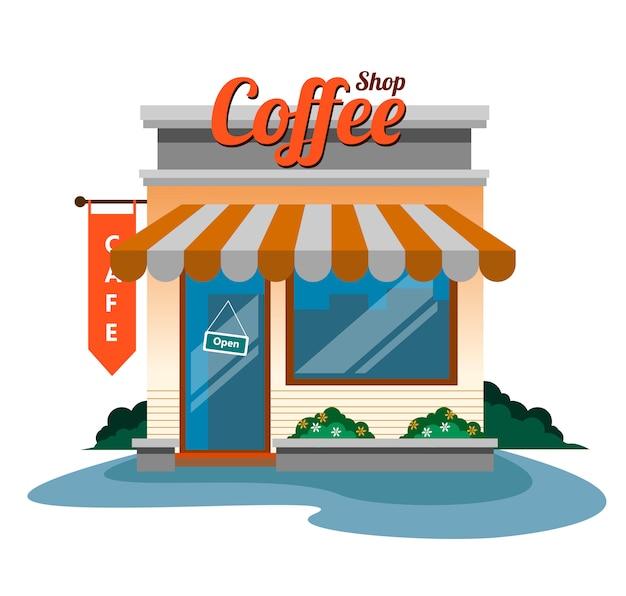 ベクトルのコーヒーショップデザイン