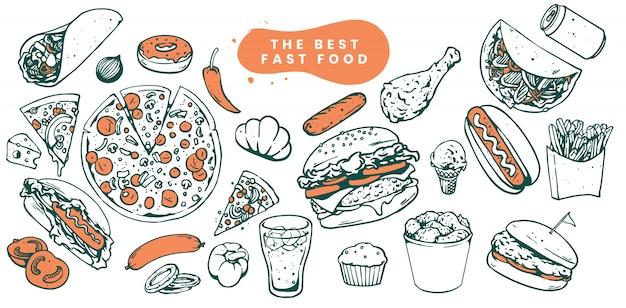 Эскизы иллюстрации быстрого питания