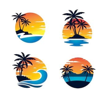 Шаблон логотипа пляжа