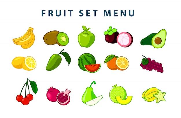 Иллюстрация фруктового набора (цветная версия)