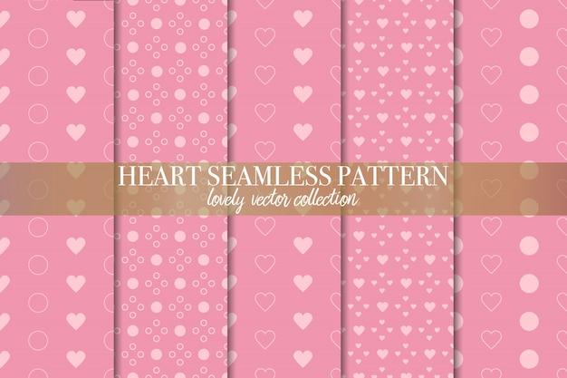 幾何学的なピンクのシームレスパターンのセット