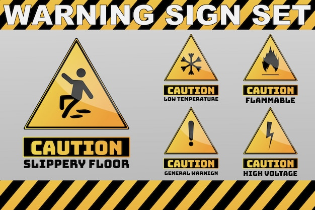 一連の注意注意黄色のサイン
