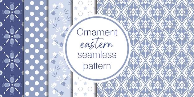 装飾と幾何学的なパターンの背景のセット