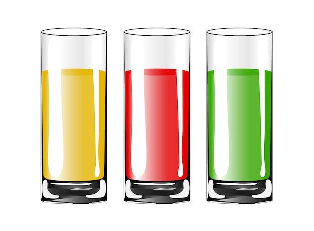 ジュースと空の飲むガラスカップ。
