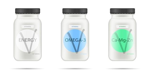 Белая матовая пластиковая бутылка с черной крышкой для витаминов, таблеток, таблеток.