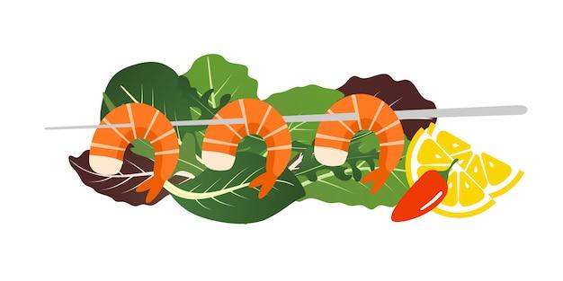 Шашлык из креветок гриль на листьях салата.