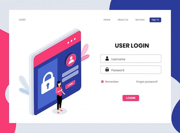 Изометрическая целевая страница входа пользователя