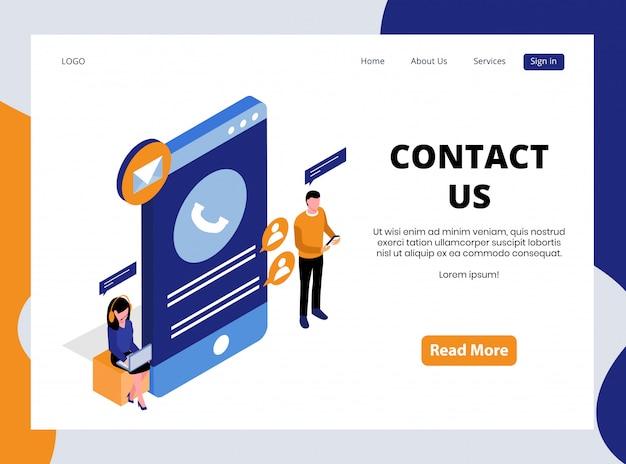 Изометрическая целевая страница для связи с нами