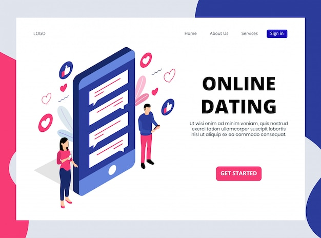 Изометрическая целевая страница онлайн знакомств