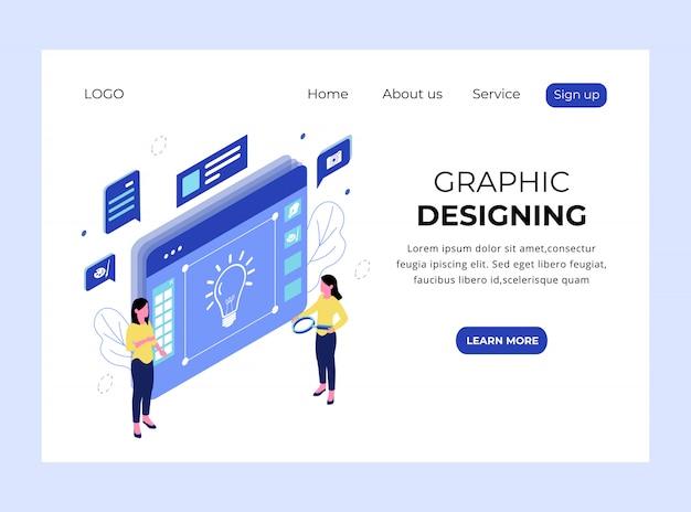 Изометрическая посадочная страница графического дизайна