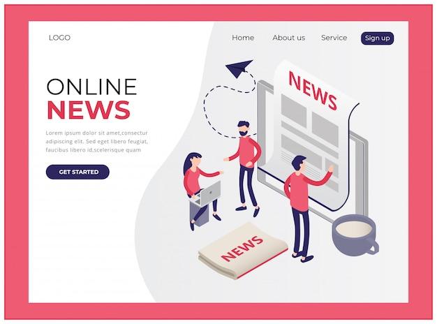 Изометрическая целевая страница с новостями