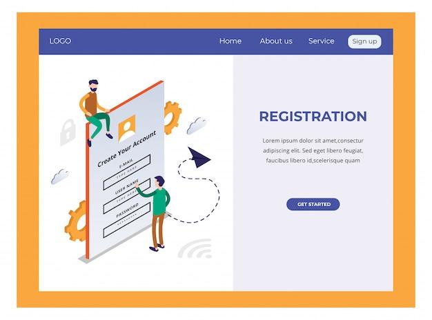 Изометрическая целевая страница с регистрацией