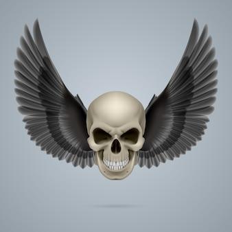 Злой череп с крыльями