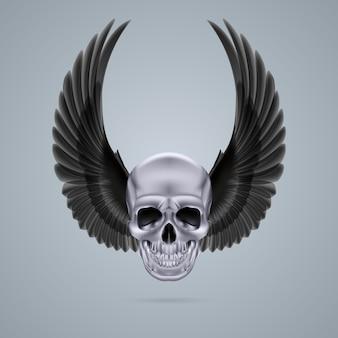Металлический хромированный череп с двумя крыльями вверх