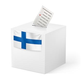 ボイシングペーパー付き投票箱。フィンランド。