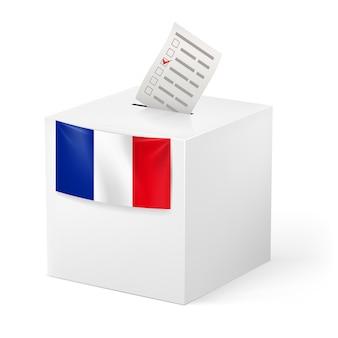 ボイシングペーパー付き投票箱。フランス。