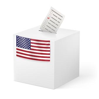 ボイシングペーパー付き投票箱。米国。