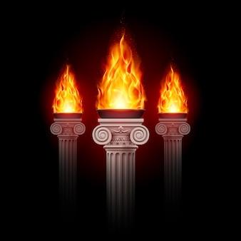 Колонны с огнем