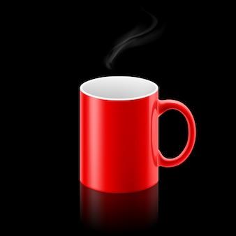 黒の背景に赤のマグカップ