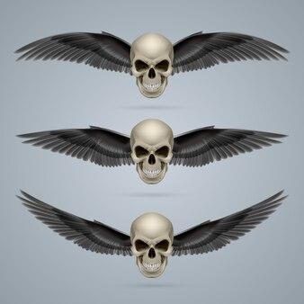Три злых черепа с крыльями