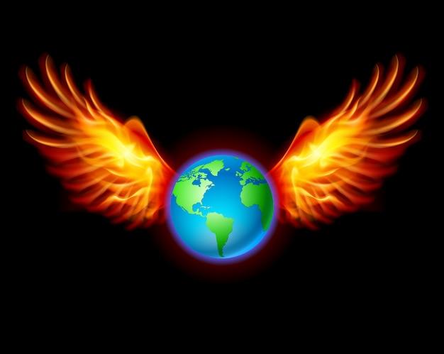 Планета земля с огненными крыльями