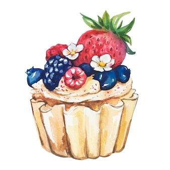 Акварельные сладкие десерты. акварельный торт.
