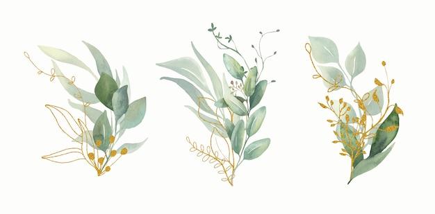 Акварельные цветочные букеты зеленого и золотого листа.