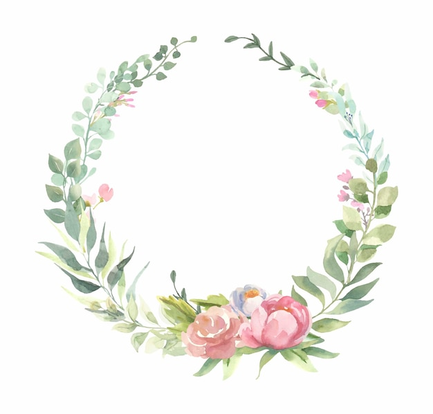 ピンクの花の花束、緑の葉と水彩のフレーム。