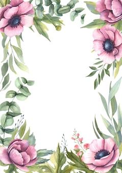 ピンクの花の水彩画フレーム。