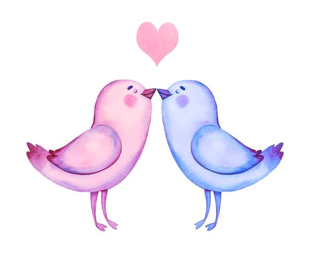 水彩の手描きの愛の鳥。バレンタインデーのクリップアート。漫画鳥のイラスト。