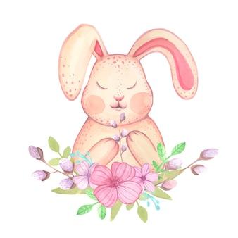 Акварель пасхальный заяц с цветами и ивы.