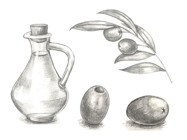 オリーブフルーツの束と葉とオリーブの枝。オリーブオイルのガラス瓶。