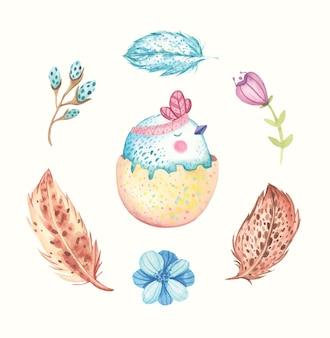 水彩のかわいいイースター鳥イラスト