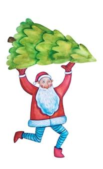 水彩クリップアート。明けましておめでとうございます。クリスマスのポストカード、ポスター。サンタクロースの水彩画。クリスマスツリー。