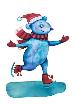 Акварель рождественская мышь на коньках.