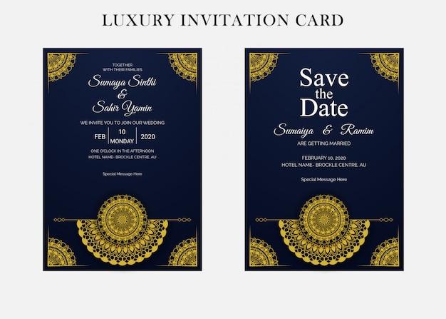 マンダラスタイルの黄金の結婚式の招待カードのデザインテンプレート