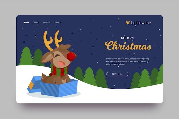 Плоская рождественская посадочная страница с северным оленем