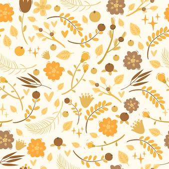 Бесшовный узор вектор с растениями, ягодами, цветами. каракули элементы