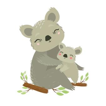 動物のベクトルイラスト。コアラのママと赤ちゃん。素敵な抱擁。母の愛。野生のクマ。有袋類の動物