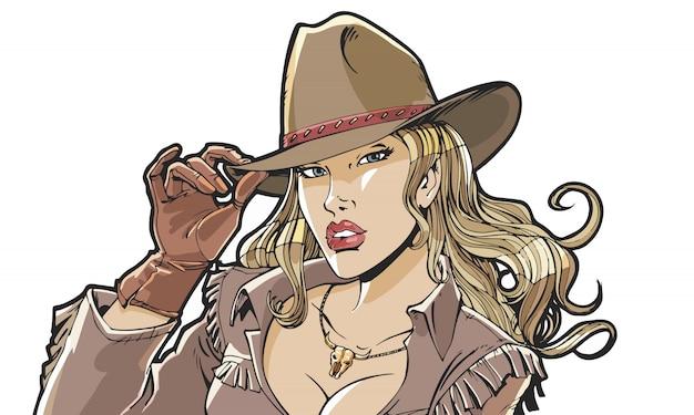 Красивая девушка ковбойская шляпа и одежда