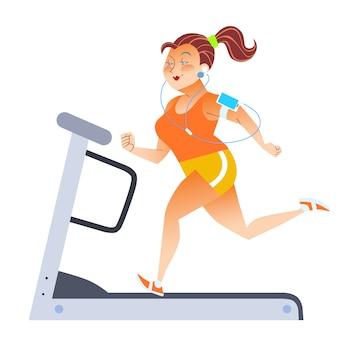 Толстая женщина на спортивной стационарной беговой дорожке