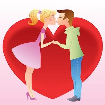 最初に女の子と男の子にキス